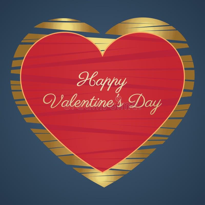 Tarjeta feliz del día de tarjetas del día de San Valentín (14 de febrero) Corazones, oro y rojo en un fondo azul libre illustration