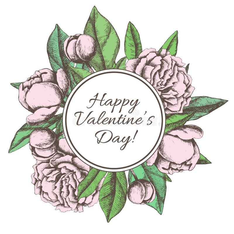 Tarjeta feliz del día de tarjetas del día de San Valentín del vintage con peon botánico dibujado mano libre illustration