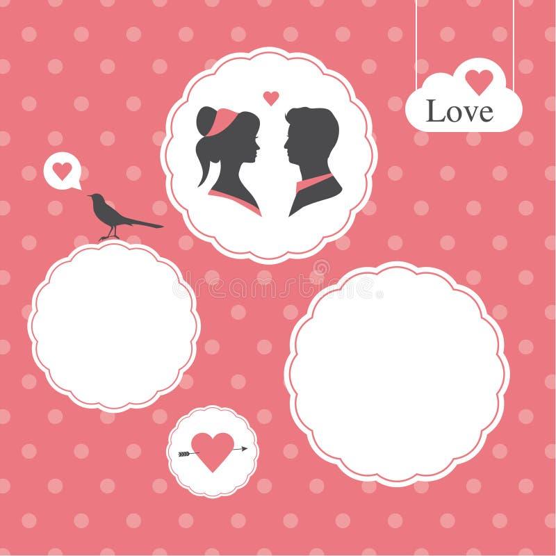 Tarjeta feliz del día de tarjetas del día de San Valentín, modelo, fondo del día de tarjetas del día de San Valentín stock de ilustración