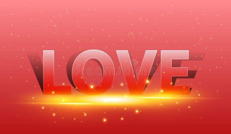 Tarjeta feliz del día de tarjetas del día de San Valentín con amor de la pintura Resplandor de oro del fondo rojo libre illustration