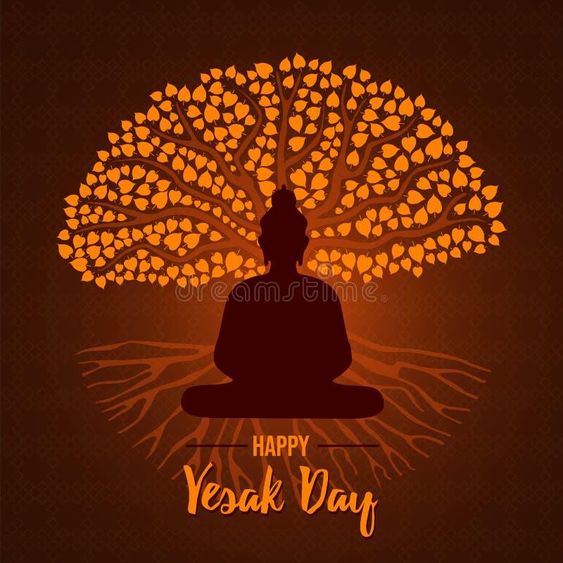 Tarjeta feliz del día de Vesak del árbol de Buda y del bodhi libre illustration