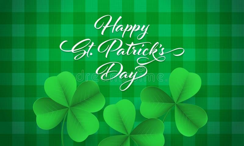 Tarjeta feliz del día del ` s de St Patrick con el trébol del trébol en fondo verde de la guinga Letras de St Patrick del vector libre illustration