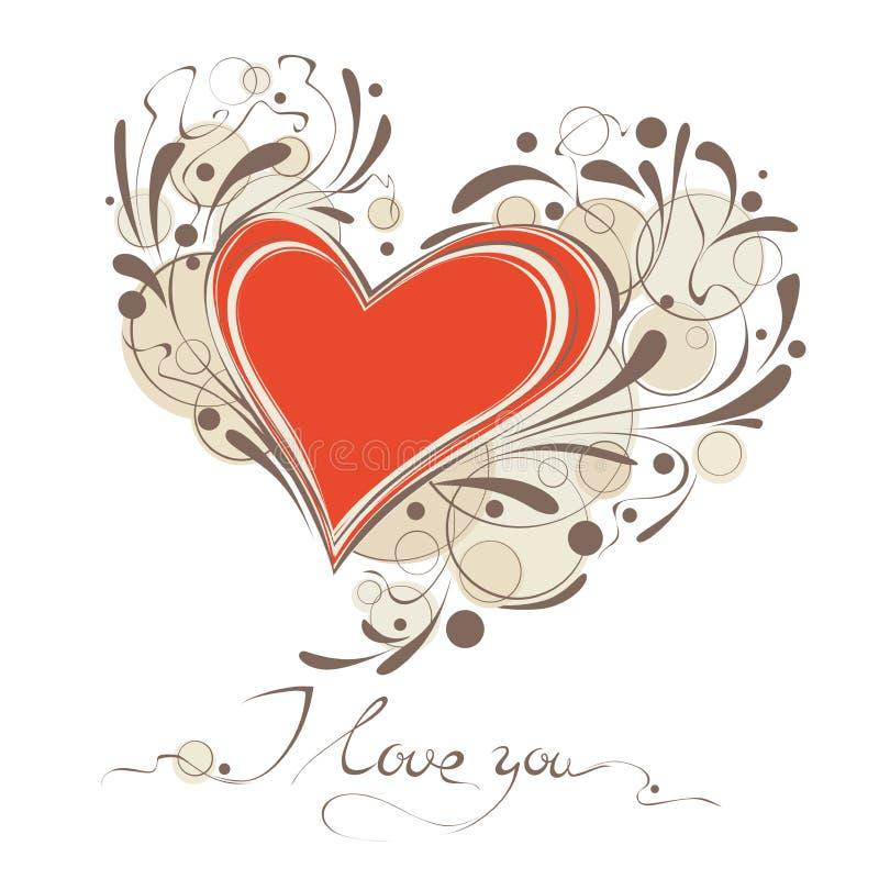 Tarjeta feliz del vector del día de tarjeta del día de San Valentín ilustración del vector