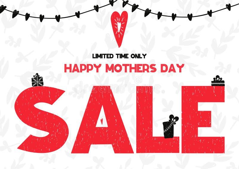 Tarjeta feliz limitada de la venta del día de madres del tiempo solamente Ilustración del vector ilustración del vector