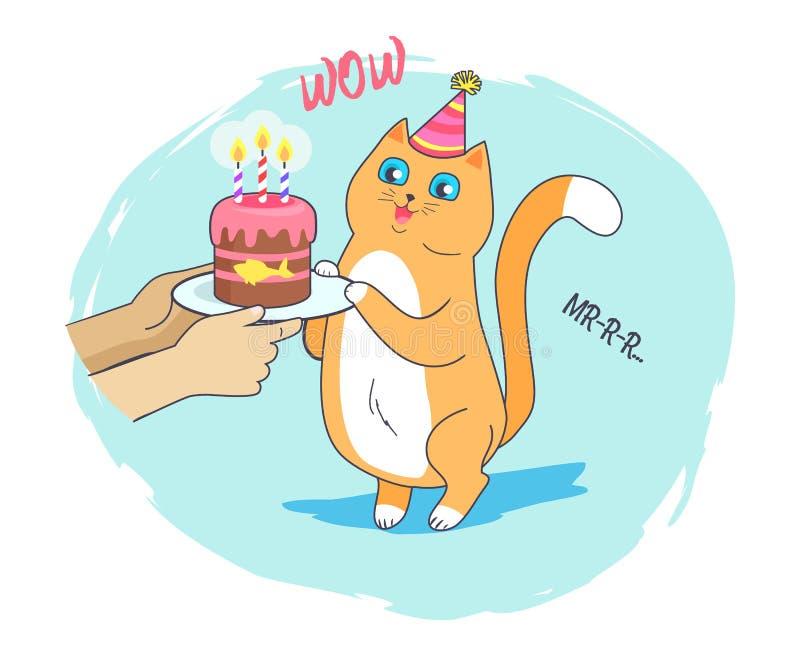 Tarjeta festiva con Cat Vector Illustration alegre stock de ilustración