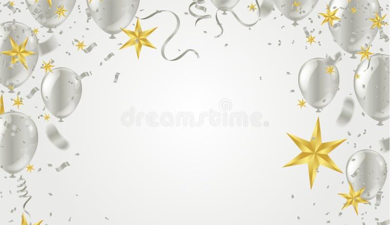 Tarjeta festiva con los globos del vuelo en un fondo brillante, partido del vector, celebración para la frontera del aniversario libre illustration