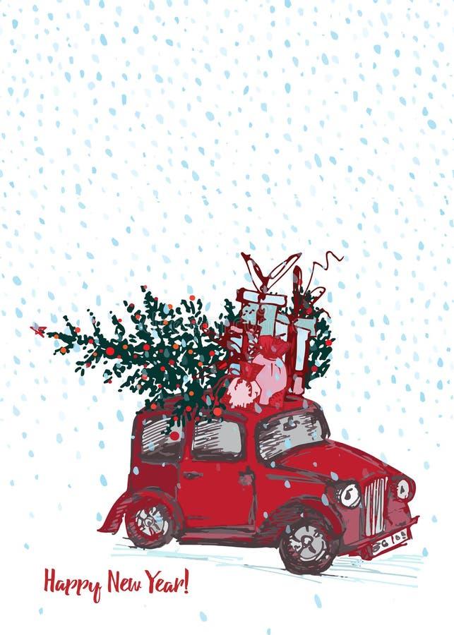 Tarjeta festiva del Año Nuevo 2019 El coche rojo con el árbol de abeto adornó bolas rojas en el fondo blanco de la nieve stock de ilustración