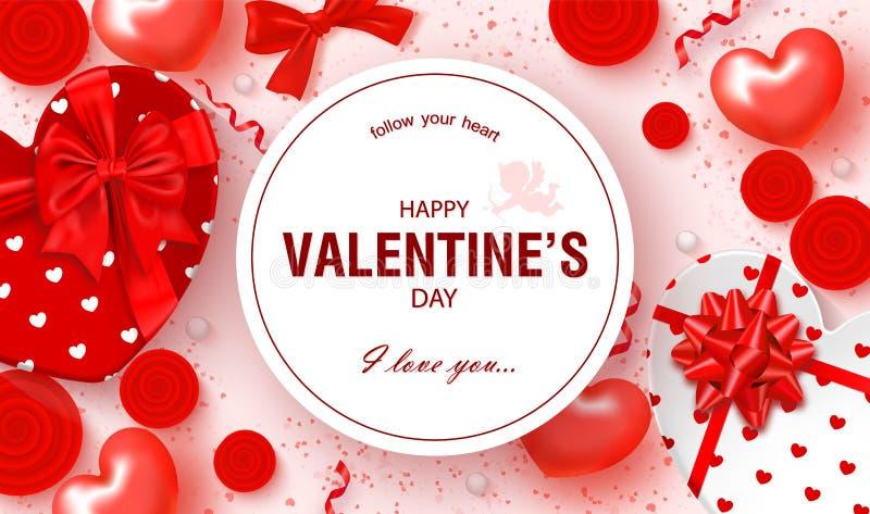 Tarjeta festiva feliz del día de tarjetas del día de San Valentín Fondo hermoso con las cajas de regalo en forma, rosas, arcos y  ilustración del vector