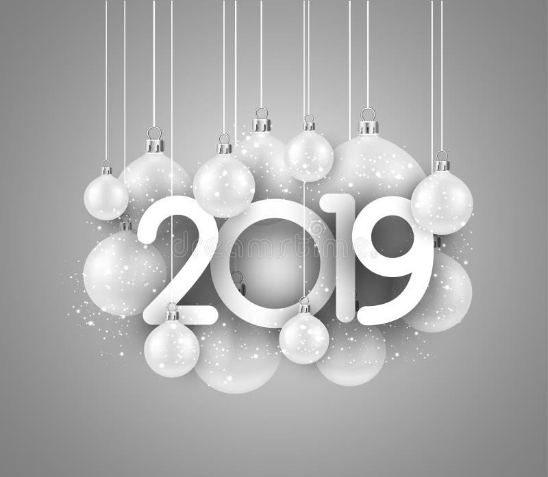 Tarjeta festiva gris del Año Nuevo 2019 con las bolas de la Navidad blanca ilustración del vector