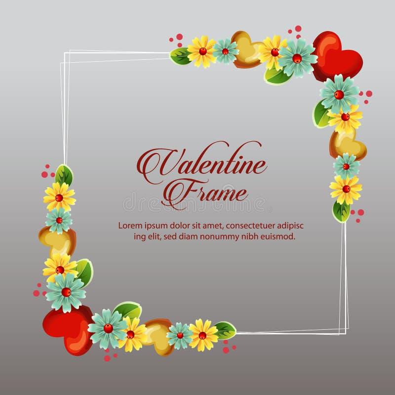 Tarjeta floral amarilla del marco de la tarjeta del día de San Valentín stock de ilustración