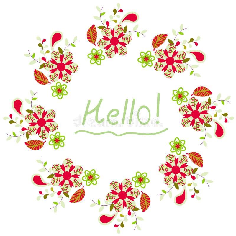 Tarjeta floral colorida linda Imagen brillante para el diseño beaut libre illustration