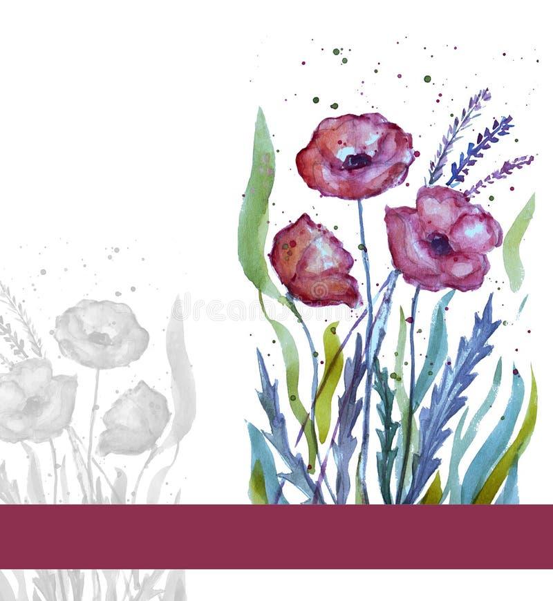Tarjeta floral de la acuarela stock de ilustración