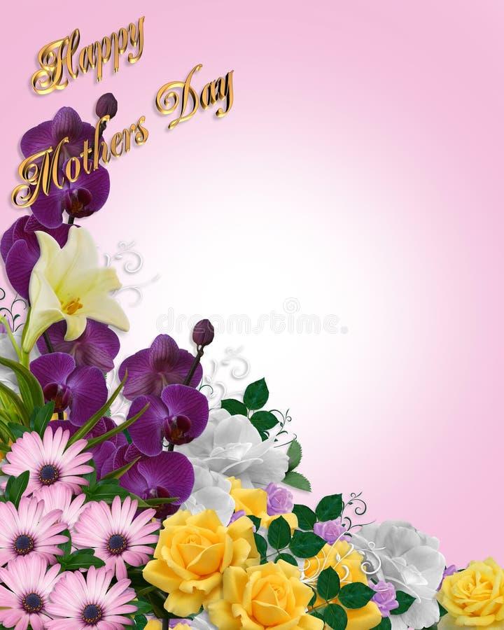 Tarjeta floral de la frontera del día de madres libre illustration