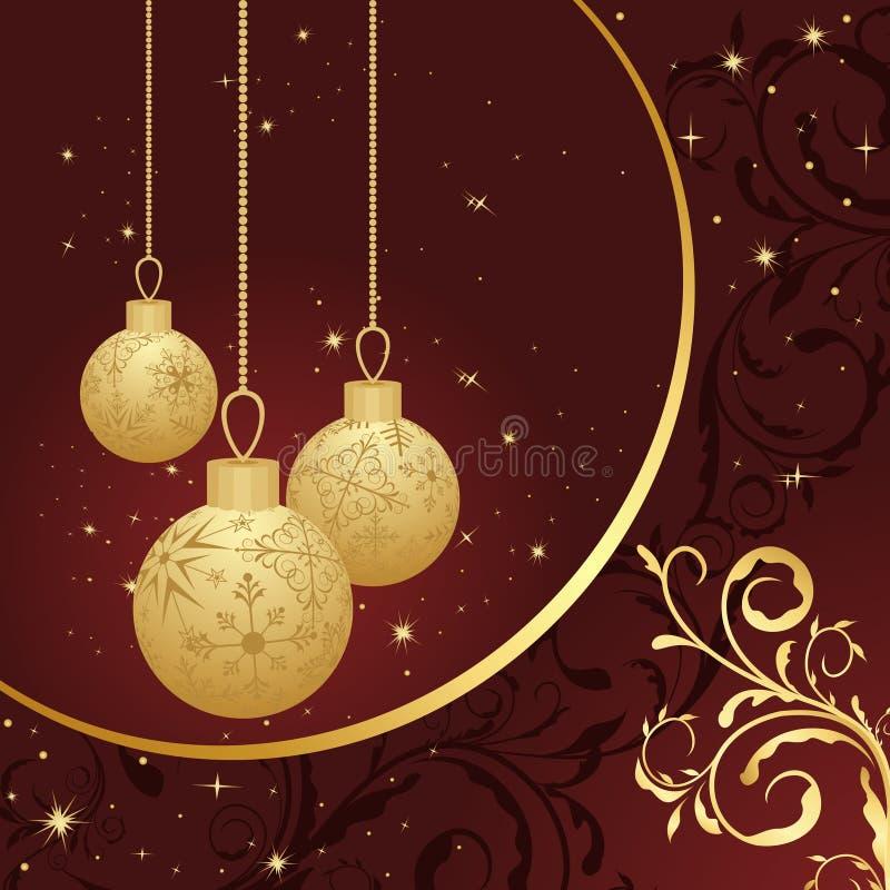 Tarjeta floral de la Navidad con la bola del oro stock de ilustración