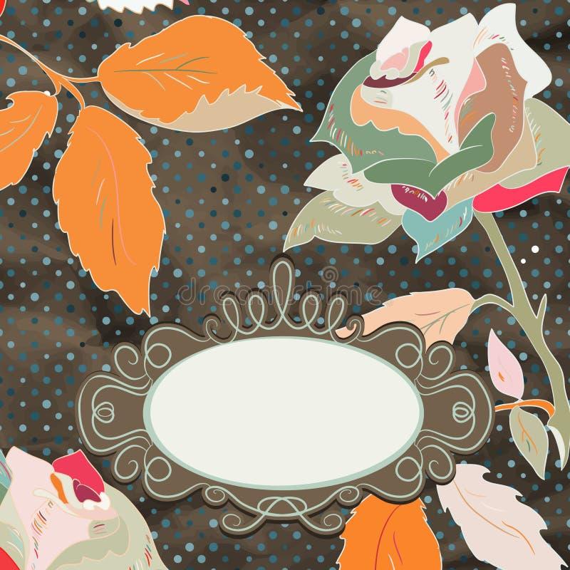Tarjeta floral de la rosa de la vendimia (auto-no rastreada). EPS 8 stock de ilustración