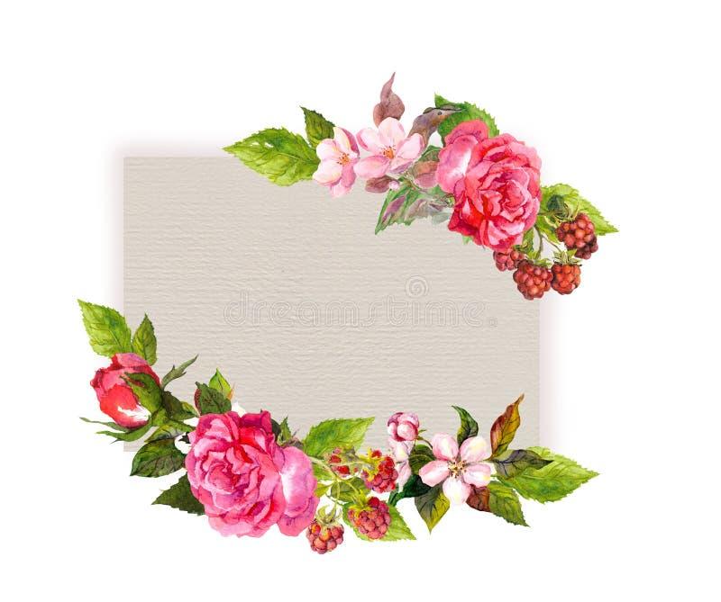 Tarjeta floral de la vendimia Flores, rosas, bayas watercolor stock de ilustración