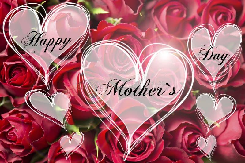 Tarjeta floral decorativa de la madre de la forma del corazón de la madre del ` s del texto feliz del día con las rosas rojas imagen de archivo libre de regalías
