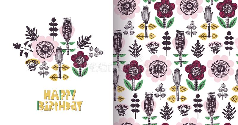 Tarjeta floral del feliz cumpleaños en estilo escandinavo Yllow, rosa, rojo, verde Letras del corte del papel ilustración del vector