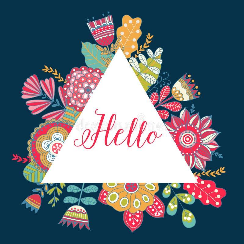 Tarjeta floral del vector con las flores coloridas en marco de los triángulos stock de ilustración