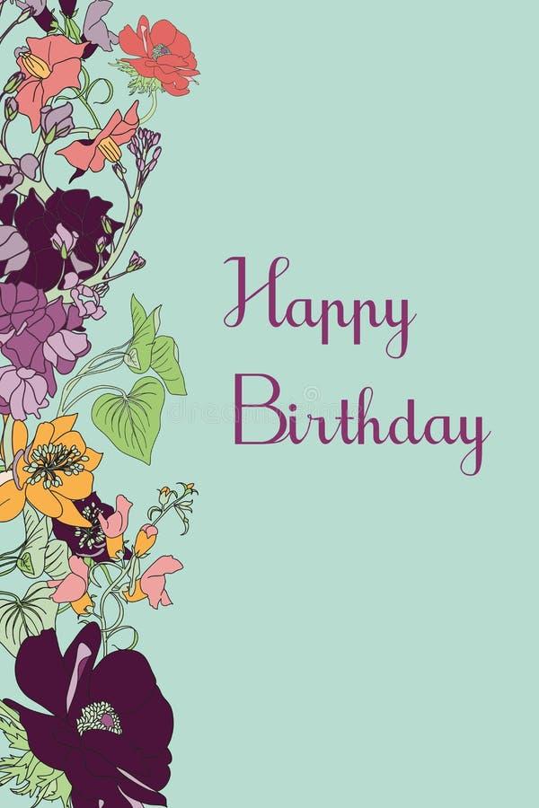 Tarjeta floral del vector del cumpleaños fotografía de archivo libre de regalías