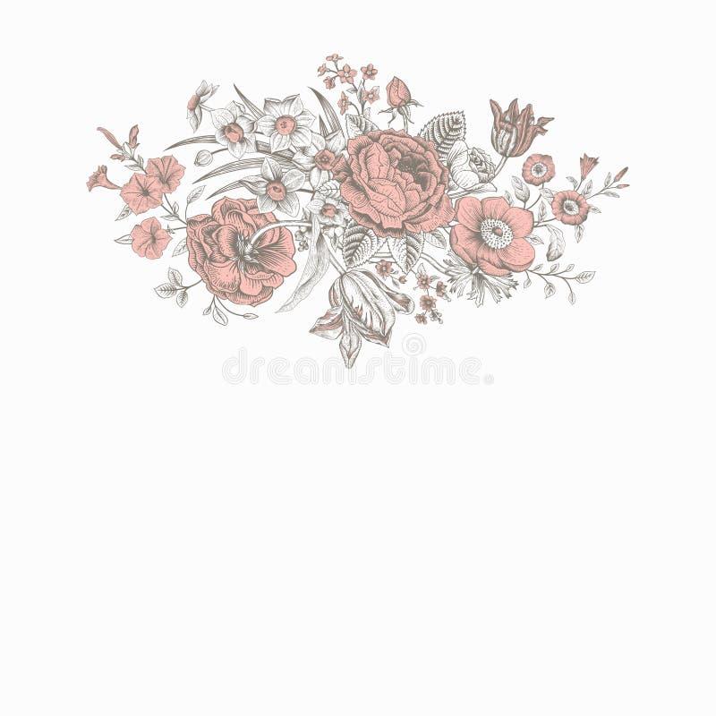 Tarjeta floral del vector del vintage stock de ilustración