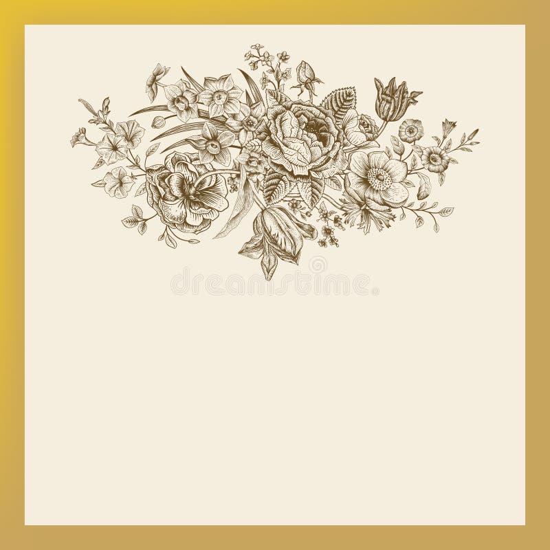 Tarjeta floral del vector del vintage ilustración del vector