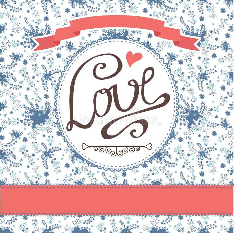 Tarjeta floral del vintage con las flores coloridas Etiqueta del amor ilustración del vector