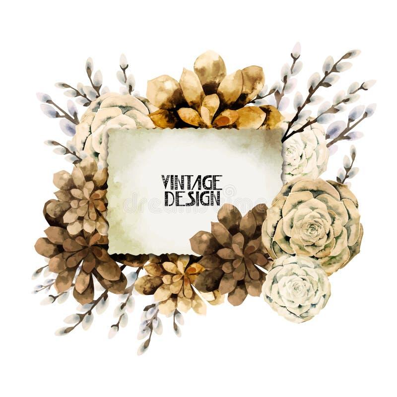 Tarjeta floral del vintage de la acuarela ilustración del vector