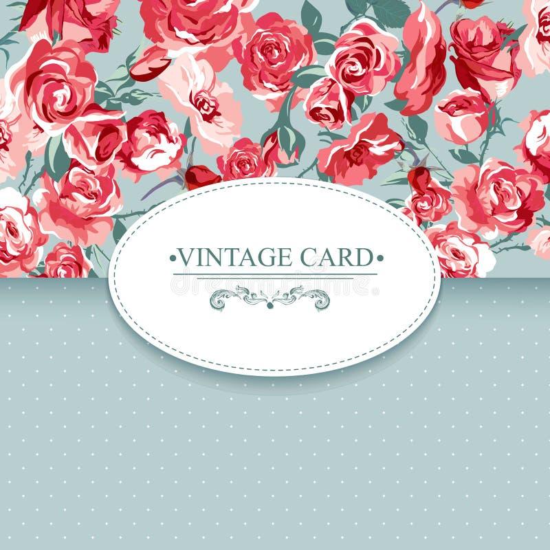 Tarjeta floral del vintage de la elegancia con las rosas stock de ilustración