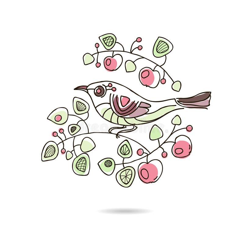 Tarjeta floral del vintage del vector de la primavera con una rama de stock de ilustración