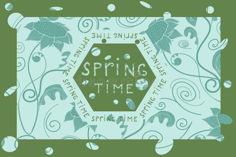 Tarjeta floral dibujada mano del vintage ilustración del vector