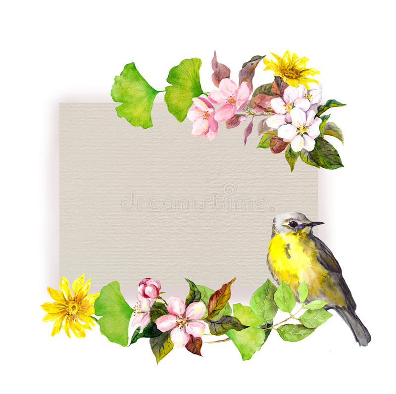 Tarjeta floral - flores y pájaro bonito en la textura de papel Modelo de la acuarela ilustración del vector