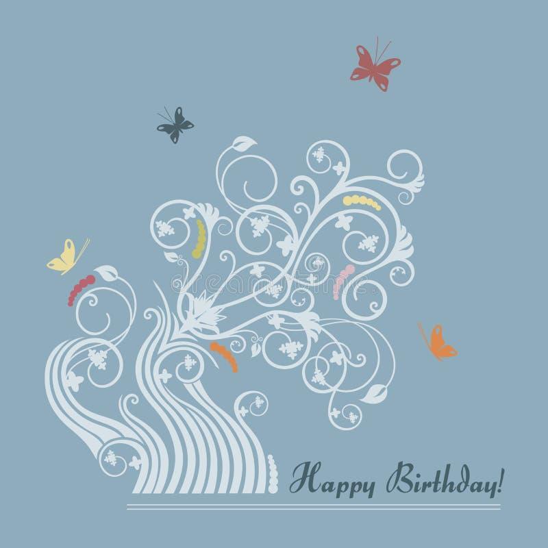 Tarjeta floral linda del feliz cumpleaños stock de ilustración