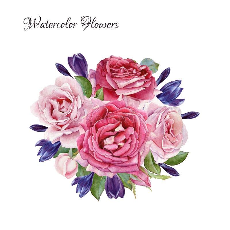 Tarjeta floral Ramo de rosas y de azafranes de la acuarela stock de ilustración
