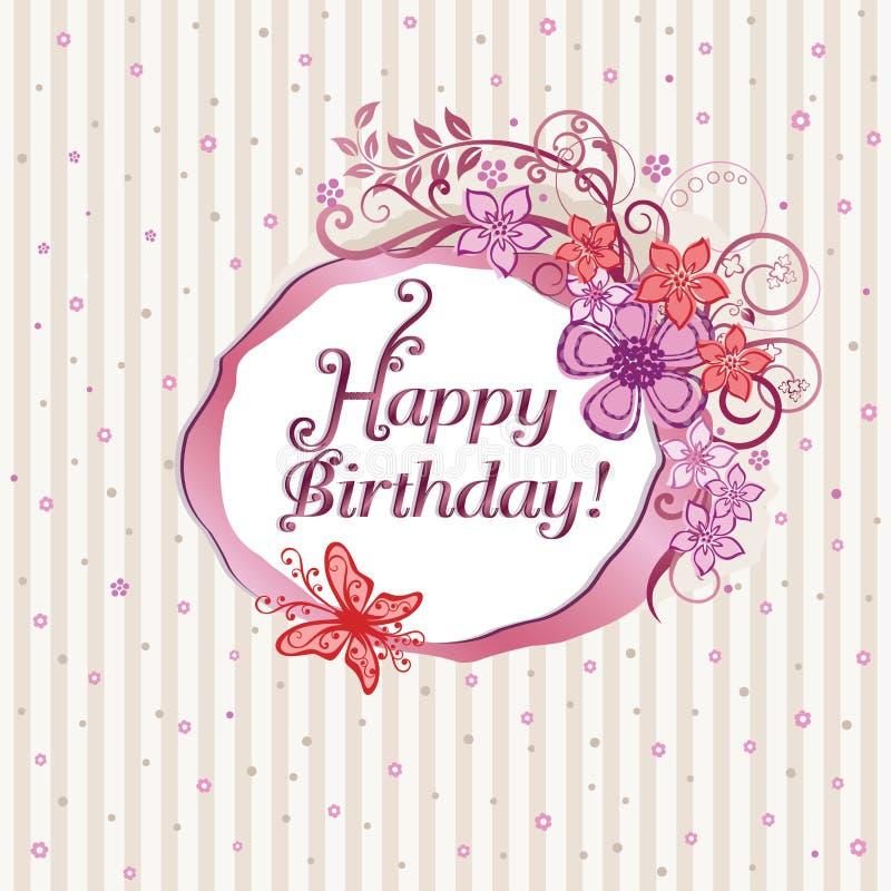 Tarjeta floral rosada del feliz cumpleaños stock de ilustración