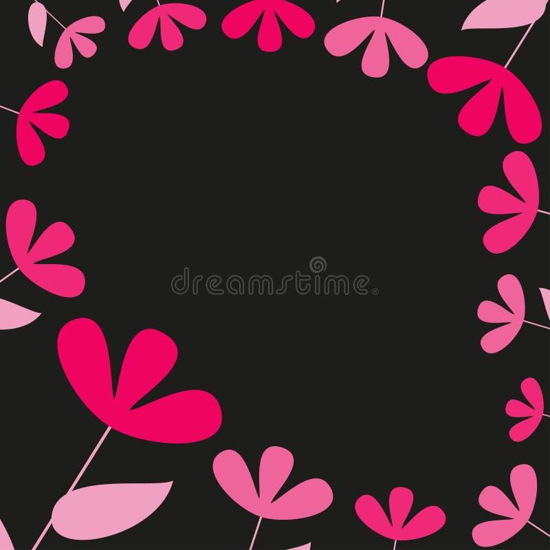 Tarjeta floral rosada y roja abstracta, marco de la flor, frontera decorativa, vector ilustración del vector