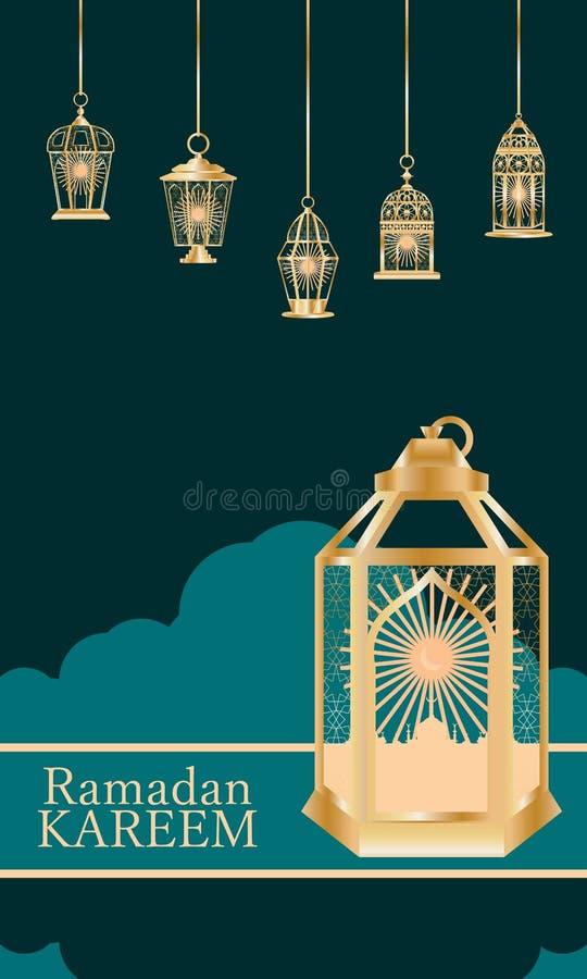 Tarjeta grande de la decoración de la estancia de la linterna del Ramadán libre illustration