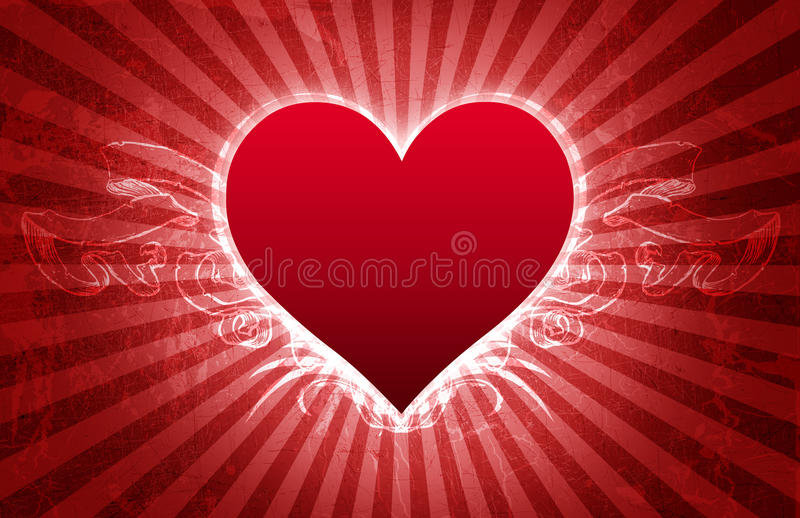 Tarjeta grande de la tarjeta del día de San Valentín de Grunge del corazón libre illustration