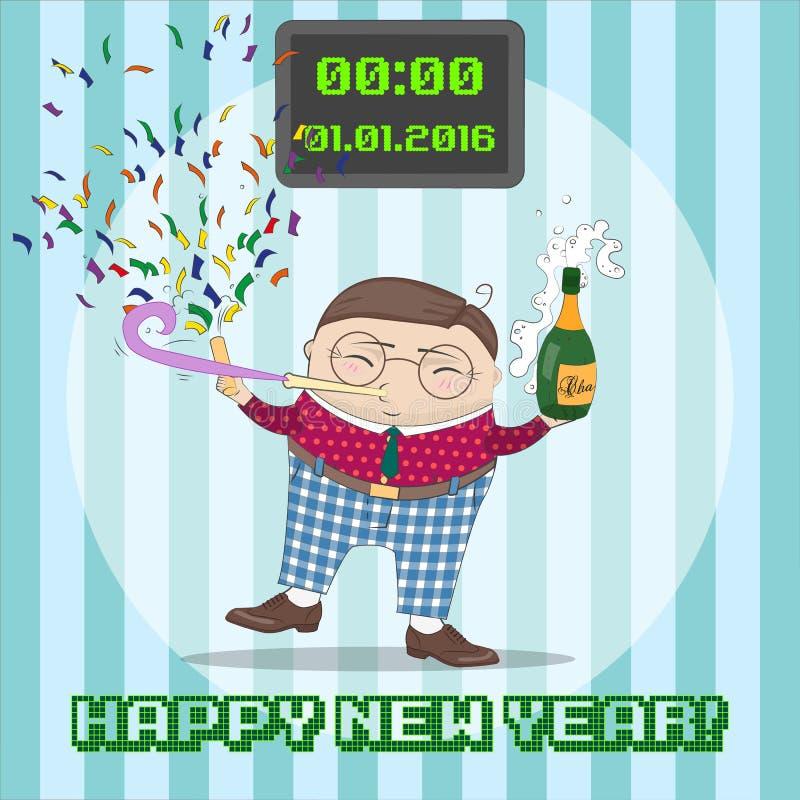Tarjeta greating del Año Nuevo con el personaje de dibujos animados divertido stock de ilustración