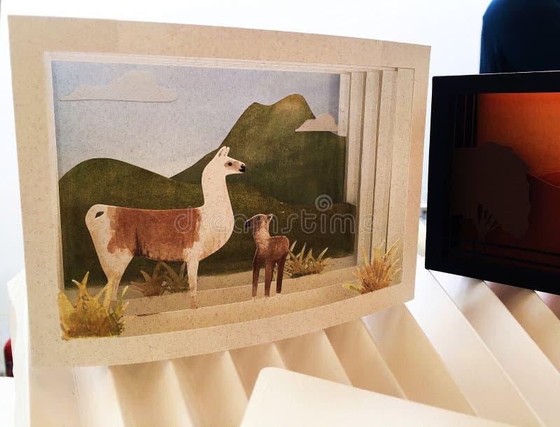 Tarjeta hecha a mano de la alpaca de la llama del artesano foto de archivo