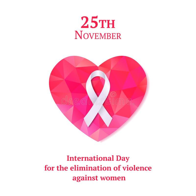 Tarjeta hermosa con la cinta blanca y corazón rosado para el día internacional para la eliminación de la violencia contra mujeres libre illustration