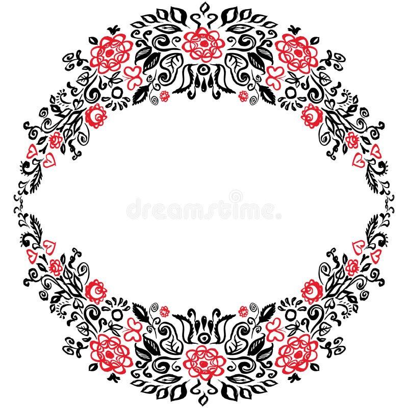 Tarjeta hermosa con una guirnalda redonda del verano del rojo elegante Bla de la invitación de la boda de diverso de las flores d ilustración del vector