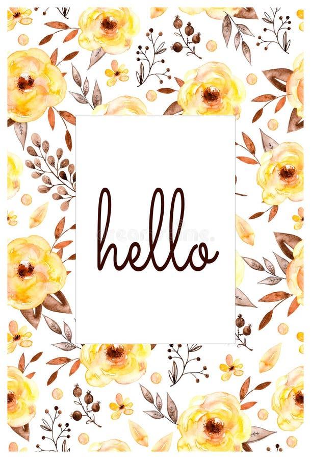 Tarjeta hermosa confeccionada de flores y de hojas amarillas stock de ilustración