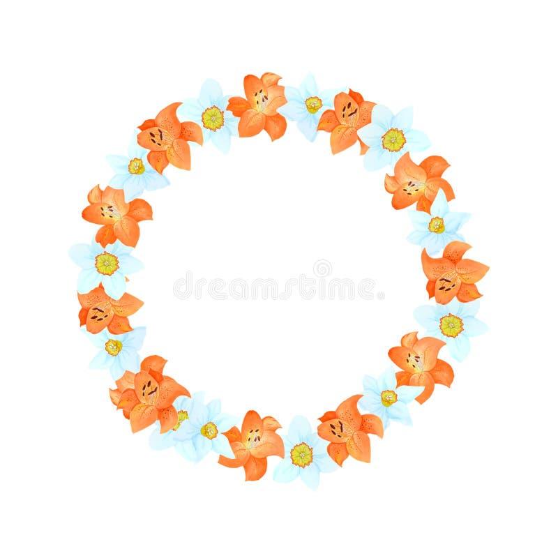Tarjeta hermosa de la acuarela con el lirio y el narciso Flores aisladas en el fondo blanco stock de ilustración