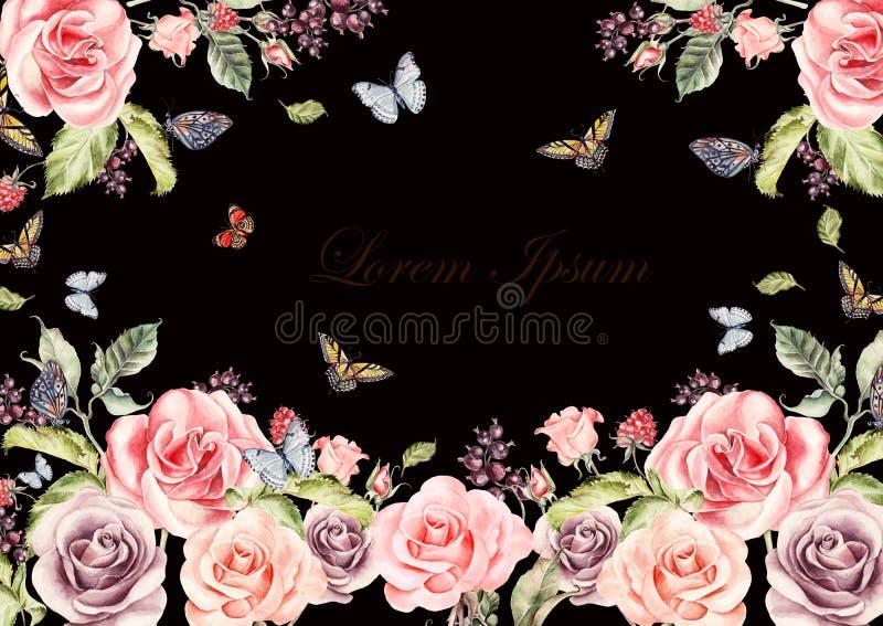 Tarjeta hermosa de la acuarela con las flores y las bayas de las rosas Mariposas y plantas ilustración del vector