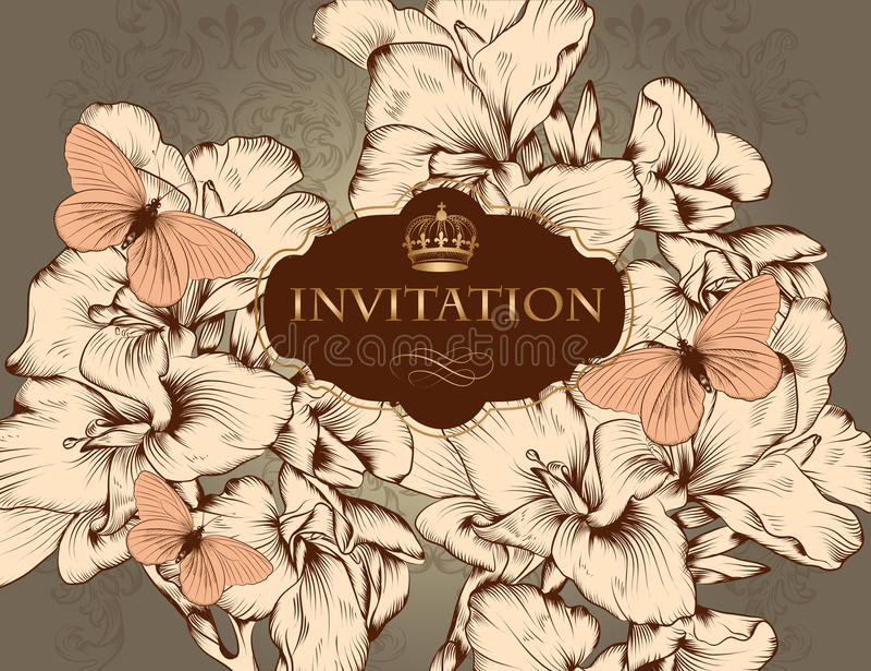 Tarjeta hermosa de la invitación de la boda del vector en estilo del vintage stock de ilustración