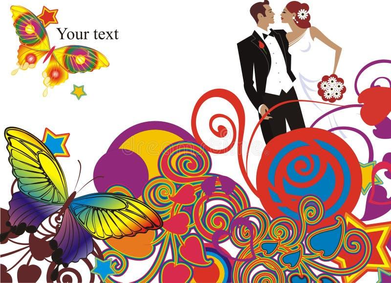 Tarjeta hermosa de los pares de la boda ilustración del vector