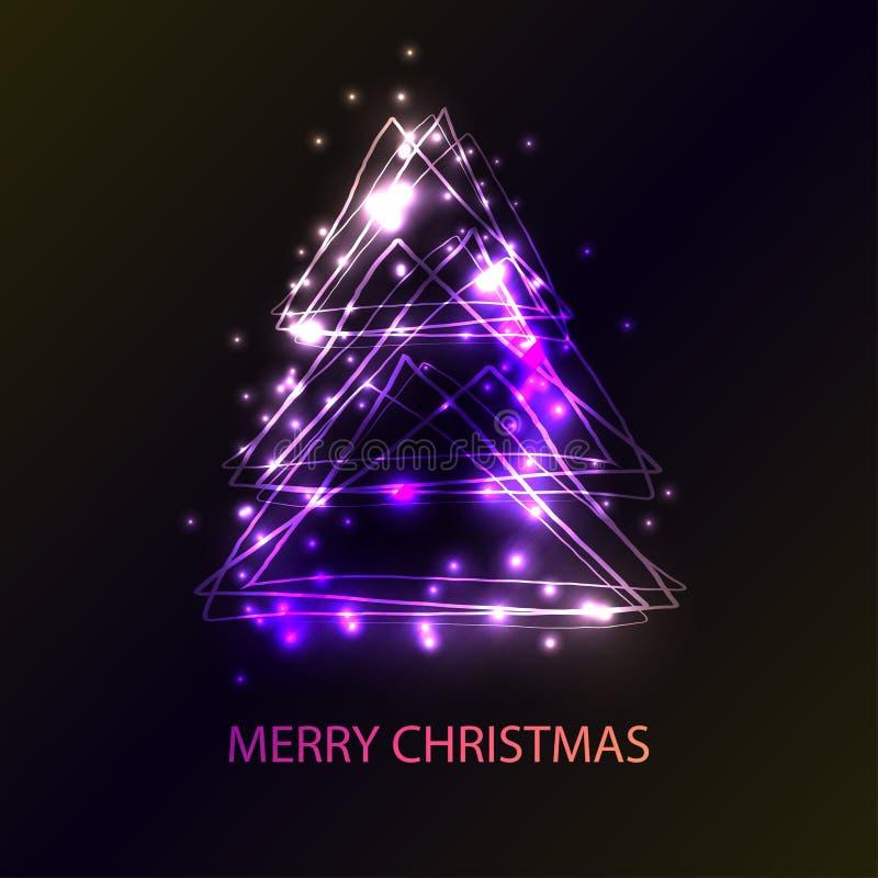 Tarjeta hermosa del día de fiesta con el árbol de navidad del estilo del techno hecho de triángulos, de flashes y de luces Un eje stock de ilustración