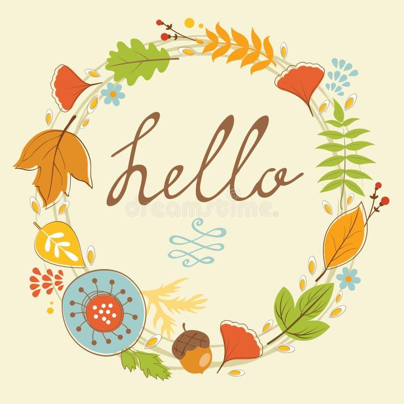 Tarjeta hermosa del hola con la guirnalda del otoño stock de ilustración