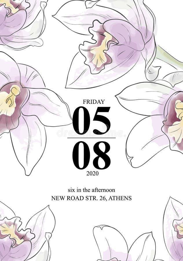 Tarjeta hermosa del invittion de las orquídeas Flores de la acuarela del vector con la tarjeta de felicitación del texto Flores d stock de ilustración
